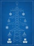 Christmas tree - blueprint Royalty Free Stock Photos