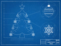 Christmas Tree Blueprint. Shoot of the Christmas Tree Blueprint stock images