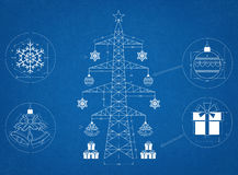Christmas Tree Blueprint Stock Images