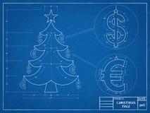 Christmas Tree - Blueprint Stock Image