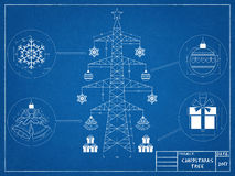 Christmas tree - blueprint Royalty Free Stock Images