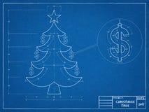 Christmas - Tree Blueprint Royalty Free Stock Photography