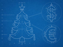 Christmas Tree  Blueprint. Tehnical drawing of Santa Christmas Tree Royalty Free Stock Photography