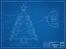 Christmas Tree  Blueprint. Tehnical drawing of Santa Christmas Tree Stock Images