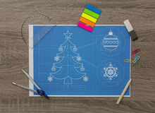 Christmas Tree Bluerpint Stock Image