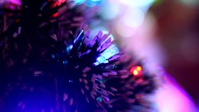 Christmas tree with blurred bokeh close up stock video
