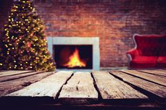 Christmas tree and blurred light bokeh. stock photos
