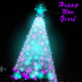 Christmas tree with blurred photographic. Vector illustration of Christmas tree and blurred photographic background, garland and text Royalty Free Stock Photo