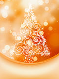 Christmas Tree on bokeh, Greeting Card. EPS 8 Stock Image