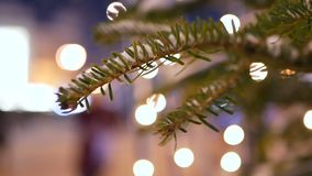 Christmas tree bokeh lights. Christmas tree with bokeh and christmas lights stock footage