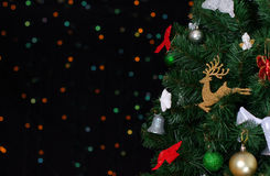 Christmas tree with bokeh. Royalty Free Stock Photos