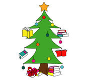 Christmas tree with books. You can use these tree christmas tree illustrations with books for promoting a reading culture Royalty Free Stock Photography