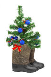 Christmas Tree and boots Royalty Free Stock Images