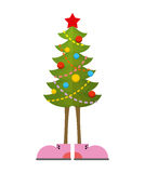 Christmas Tree in boots. Christmas tree in shoe. Pink shoes.  Stock Photography