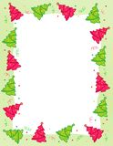 Christmas Tree border. Beautiful christmas trees with colorful falling confetti border Stock Images