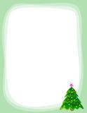 Christmas tree border. Christmas border / frame with beautiful decorated christmas tree Stock Image