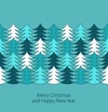 Christmas tree border. Seamless stylish color christmas tree border. Vector illustration Royalty Free Stock Image