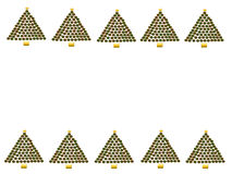 Christmas Tree Border. Made of red and green polka dot circles on white background; computer illustration Stock Photo