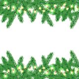 Christmas tree border with garland. Vector Christmas tree border with glowing garland Royalty Free Stock Images