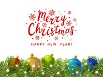 Christmas tree border with decor royalty free illustration