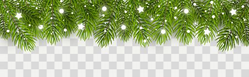 Christmas tree border with decor. Christmas tree border with holiday decor vector illustration