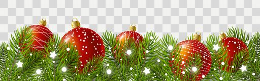 Christmas tree border with holiday decor. Ations stock illustration