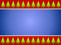 Christmas Tree Border Red Blue. A background border featuring green Christmas trees, red stripes and gradient blue Stock Photography