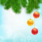 Christmas Tree Borders. With hanging balls.  Vector realistic illustration for your design Stock Photo