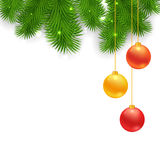Christmas Tree Borders with hanging balls. Vector realistic illustration for your design Royalty Free Stock Image