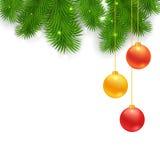 Christmas Tree Borders with hanging balls Royalty Free Stock Image