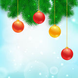 Christmas Tree Borders. With hanging balls.  Vector realistic illustration for your design Stock Photography