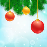 Christmas Tree Borders. Christmas Tree Borders with hanging balls.  Vector realistic illustration for your design Royalty Free Stock Image
