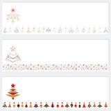 Vector Christmas tree borders. Set of vector Christmas trees and ornaments border on white background for any Christmas design. Abstract red, black, gold spruces Stock Photography