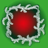 Christmas Tree Borders. Winter red abstract background with spruce twigs. Christmas frame Royalty Free Stock Images