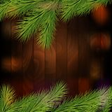 Christmas tree borders,  on a wooden background Royalty Free Stock Image