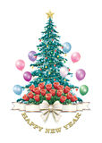 Festive Christmas tree with a surprise. Christmas tree with a bouquet of red roses and balloons Stock Images