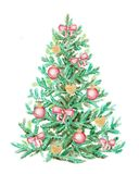 Christmas tree with  bows and balls. Watercolor painting. Isolated on white background Stock Images