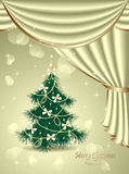 Christmas Tree with bows, stars, garland, light, d Royalty Free Stock Images