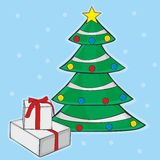 Christmas tree with box gifts Stock Image