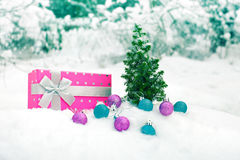 Christmas tree and box on snow Stock Photo