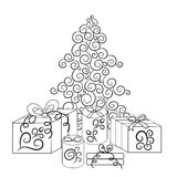 Christmas tree and boxes with gifts in monochrome version.Vector illustration Stock Photos