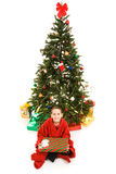 Christmas Tree and Boy Stock Images