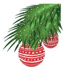 Christmas Tree Branch. Green Christmas Tree Branch With Red Baubles Stock Photography
