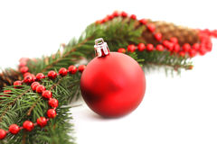Christmas tree branch. Christmas baubles on pine branch Royalty Free Stock Image