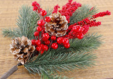 Christmas tree branch with adornments Royalty Free Stock Images