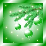 Christmas tree branch with balls Royalty Free Stock Photography