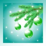 Christmas tree branch with balls Royalty Free Stock Photos