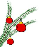 Christmas tree branch with balls, royalty free illustration