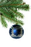Christmas tree branch with blue Christmas ball Royalty Free Stock Photo