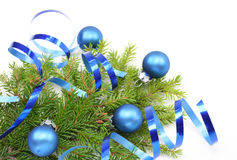 Christmas tree branch and blue ribbon Stock Photos